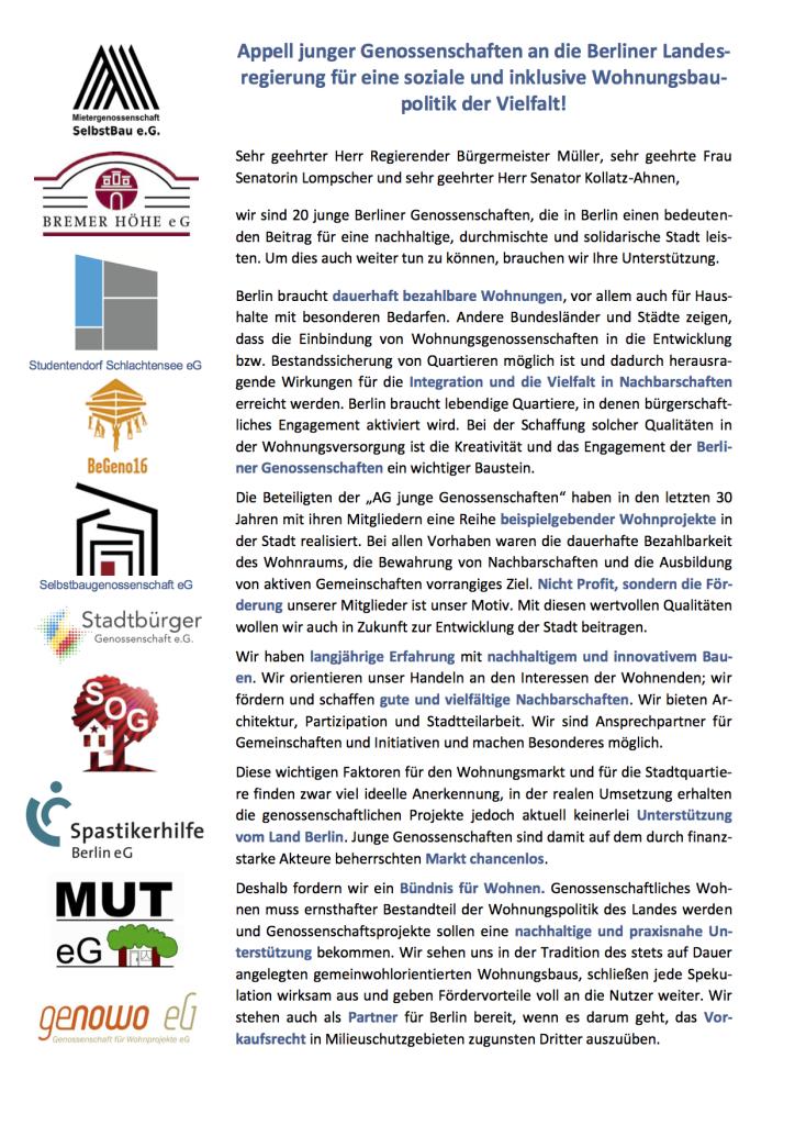 3d75adaf-5b9e-44d6-bd8f-9a1d0f4fa01aAG Junge Genossenschaften Berlin - Wohnungspolitischer Appell Juli 2017