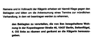 Räumungsklage Kopenhagener Str 46